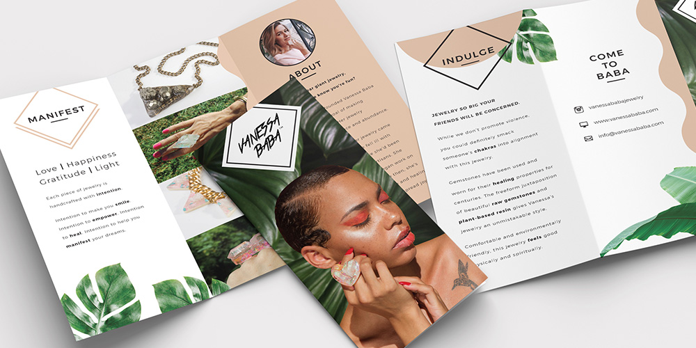 Jewelry Brand Trifold Design with Tropical Elements