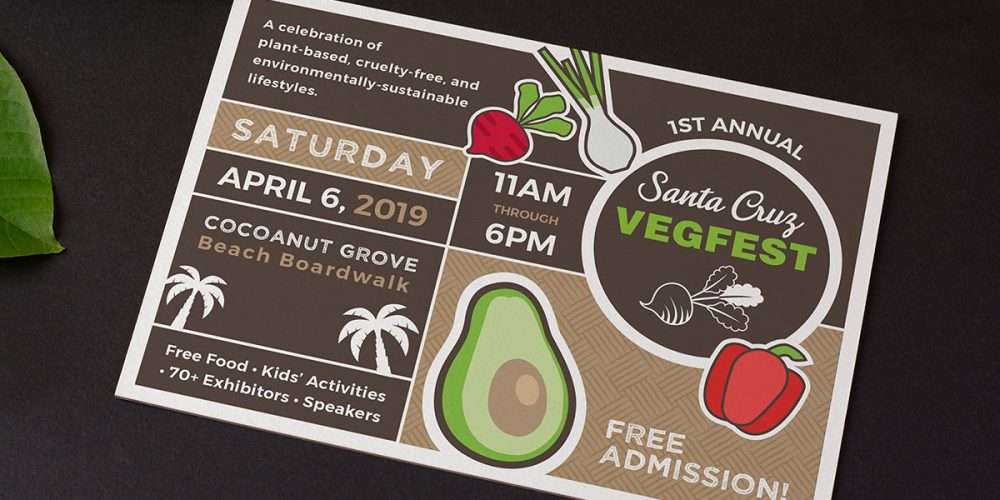 Promotional Postcard for First Annual Santa Cruz VegFest