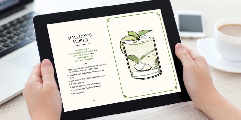 Cocktail Recipe eBook Shown on iPad